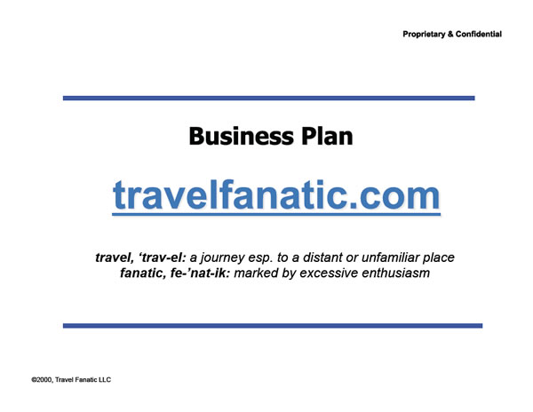 Travel Fanatic Initial Investor Deck Cover